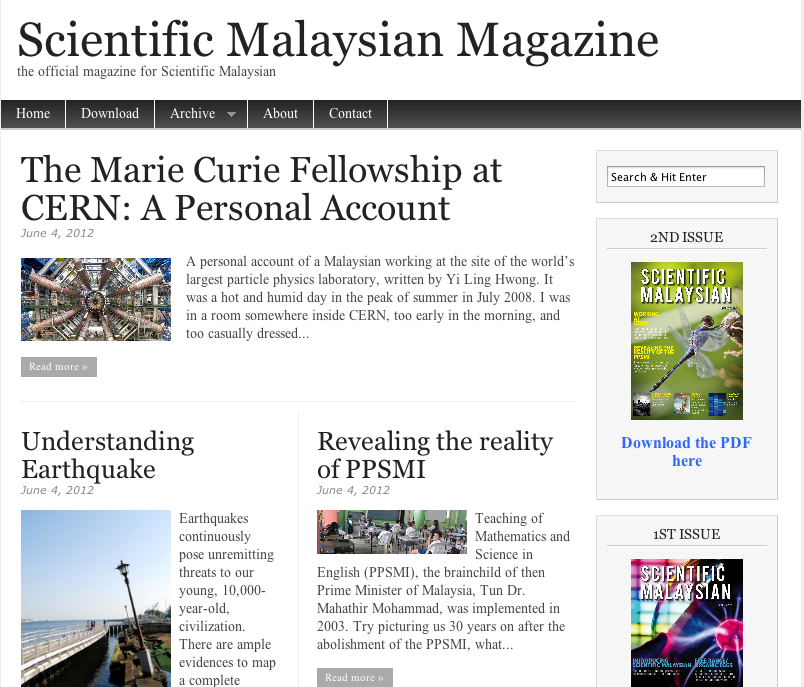 Site News: Scientific Malaysian Magazine site has a new look