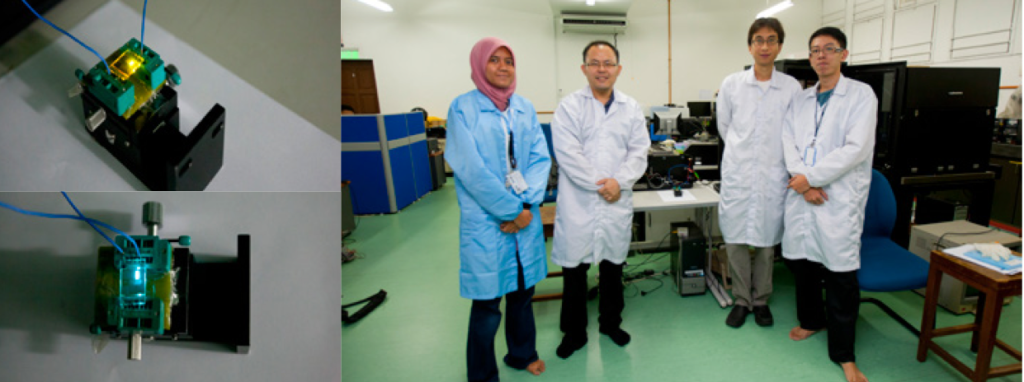 TOP LEFT: The world's most energy efficient yellow organic light-emitting diode (OLED) made in our lab. BOTTOM LEFT: Blue OLED which is the foundation for white OLED, has efficiency almost as good as the best in the world. RIGHT: The OLED team members in the Low Dimensional Materials Research Center at University of Malaya.